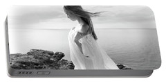 Girl In A White Dress By The Sea Portable Battery Charger