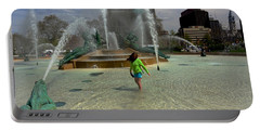 Girl In Fountain Portable Battery Charger