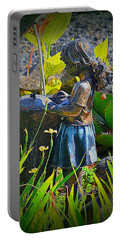 Portable Battery Charger featuring the photograph Girl In The Garden by Lori Seaman