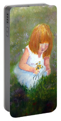 Girl In The Meadow Portable Battery Charger