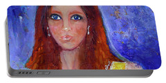 Portable Battery Charger featuring the painting Girl In Yellow Dress by Claire Bull