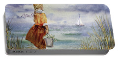 Portable Battery Charger featuring the painting Girl Ocean Shore Birds And Seashell by Irina Sztukowski
