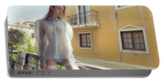 Girl On Balcony Portable Battery Charger