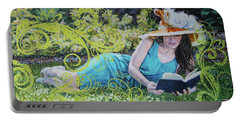 Girl Reading Book Portable Battery Charger