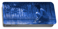 Girl Washing At The River Portable Battery Charger by Diane Schuster