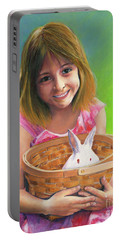 Portable Battery Charger featuring the painting Girl With A Bunny by Jeanette French