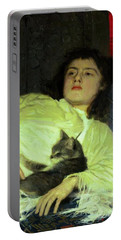 Girl With A Cat 1882 Portable Battery Charger