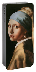 Girl With A Pearl Earring - After Vermeer Portable Battery Charger
