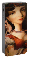 Girl With A Pet Monkey Portable Battery Charger