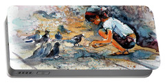 Portable Battery Charger featuring the painting Girl With Birds by Kovacs Anna Brigitta