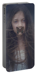 Girl With Butterfly Over Lips Portable Battery Charger