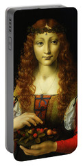 Portable Battery Charger featuring the painting Girl With Cherries by Giovanni De Predis