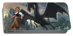 Portable Battery Charger featuring the digital art Girl With Dragon Fantasy by Martin Davey