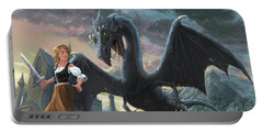 Girl With Dragon Fantasy Portable Battery Charger by Martin Davey