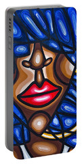 Portable Battery Charger featuring the painting Girl With Hoop Earring by Aliya Michelle