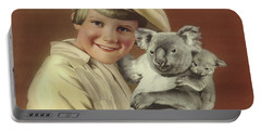 Girl With Koala And Its Baby Portable Battery Charger