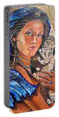 Girl With Lion Cub Portable Battery Charger