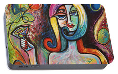 Portable Battery Charger featuring the painting Girl With Martini Cocktail Abstract by Genevieve Esson