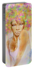 Girl With New Hair Style Portable Battery Charger by Lilia D