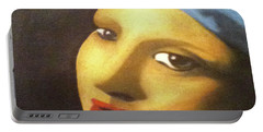 Portable Battery Charger featuring the painting Girl With Pearl Earring Face by Jayvon Thomas