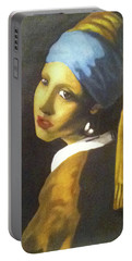 Portable Battery Charger featuring the painting Girl With Pearl Earring by Jayvon Thomas