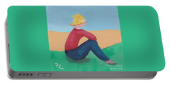 Portable Battery Charger featuring the painting Girl With Straw Hat by Patricia Cleasby