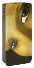 Portable Battery Charger featuring the painting Girl With The Pearl Earring Close Up by Jayvon Thomas