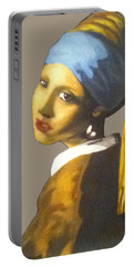 Portable Battery Charger featuring the painting Girl With The Pearl Earring No Background by Jayvon Thomas