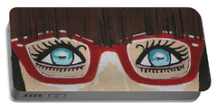 Portable Battery Charger featuring the painting Girl With The Red Glasses by Kathleen Sartoris