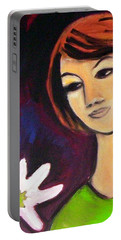 Portable Battery Charger featuring the painting Girl With White Flower by Winsome Gunning