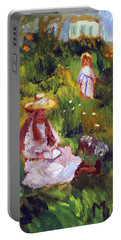 Girls In The Field, After Monet Portable Battery Charger by Michael Helfen