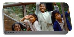 Girls Smiling In Kathmandu, Nepal Portable Battery Charger