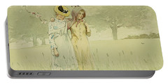 Girls Strolling In An Orchard Portable Battery Charger