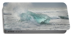 Glacial Iceberg In Beach Surf. Portable Battery Charger