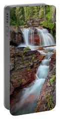 Glacier National Park Waterfall 2 Portable Battery Charger by Andres Leon