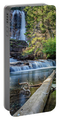 Glacier National Park Waterfall 3 Portable Battery Charger by Andres Leon