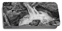 Glacier National Park's Avalanche Gorge In Black And White Portable Battery Charger