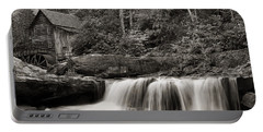 Glade Creek Grist Mill Monochrome Portable Battery Charger by Chris Flees