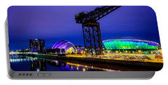 Glasgow At Night Portable Battery Charger by Ian Good