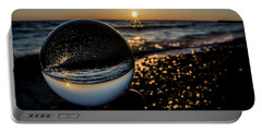 Glass Ball On The Beach At Sunrise Portable Battery Charger