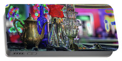 Glass In The Frame Of Colorful Hearts Portable Battery Charger