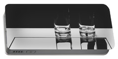 Glasses On A Table Bw Portable Battery Charger