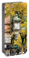 Portable Battery Charger featuring the painting Glen Ellyn Corner Clock by Christopher Arndt