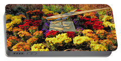 Portable Battery Charger featuring the painting Glen Ellyn Millennium Flower Clock by Christopher Arndt