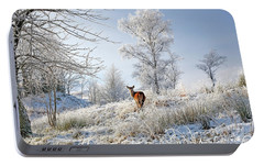 Portable Battery Charger featuring the photograph Glen Shiel Misty Winter Deer by Grant Glendinning