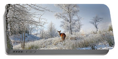 Glen Shiel Misty Winter Deer Portable Battery Charger by Grant Glendinning