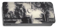 Vintage Gas Mask Terror Portable Battery Charger