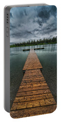 Portable Battery Charger featuring the photograph Gloomy Rainy Day On Norbury Lake by Darcy Michaelchuk