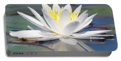 Glorious White Water Lily Portable Battery Charger