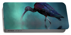 Glossy Ibis Looking For Breakfast Portable Battery Charger by Cyndy Doty
